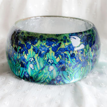 Purple Irises Vincent Van Gogh post-Impressionist, Resin bracelet reproduction art jewelry original bangle flowers, modern art painting