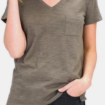 Alexa Curve Cotton Slub V-Neck Tee in Olive