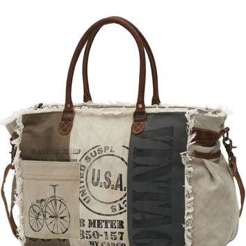 Myra Bag USA Stamped Up-cycled Canvas Weekender S-0751