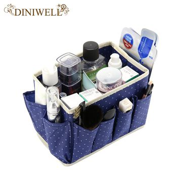 Dot Pattern Non-Woven Foldable Home Cosmetic Storage Box With 8 Pockets Household Desktop Sundry Boxes Makeup Organizer
