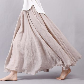 Sherhure Women Linen Cotton Long Skirts Elastic Waist Pleated Maxi Skirts Beach Boho Vintage Summer Skirts Faldas Saia