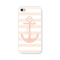 Striped Anchor Apple iPhone 4 Case - Plastic iPhone 4 Case - Nautical iPhone Case Skin - Coral Peach Pink White Cell Phone