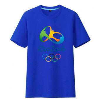 Rio 2016 Olympic Games Round Neck T-Shirt Commemorative Tees-XXL Blue