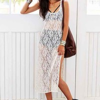 Urban Renewal Sheer Lace Tank Dress- Cream