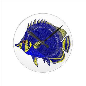 Tropical Blue Fish Clock
