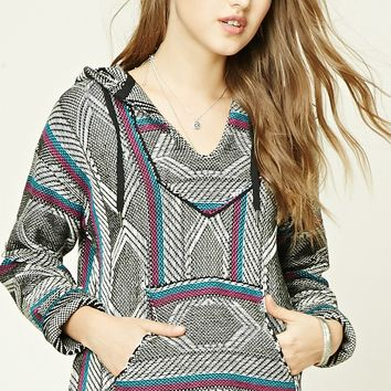 Hooded Stripe Geo Sweater