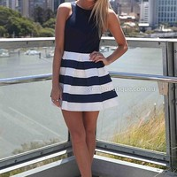 STRIPE SKIRT DRESS , DRESSES, TOPS, BOTTOMS, JACKETS & JUMPERS, ACCESSORIES, 50% OFF SALE, PRE ORDER, NEW ARRIVALS, PLAYSUIT, COLOUR, GIFT VOUCHER,,Blue,White,SLEEVELESS Australia, Queensland, Brisbane