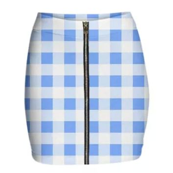 SKY BLUE GINGHAM Mini Zip Skirt