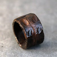 Rocky Rugged Steampunk Copper Band Ring, Dark Rustic Solid Ring Men's / Women' Ring Band, Artisan Wedding or Engagement Ring