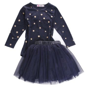 2PCS/ Starry Autumn Long Sleeved Shirt + Tutu Skirt Dress Outfit for Toddler Girls