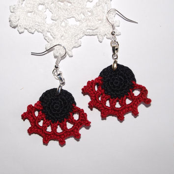 Black and White earrings Lace earrings Handmade earrings Valentine day gift for her Boho style Hippie Crochet jewelry Nickel free