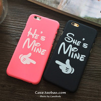 for Lover/Couple Valentine She is mine He is mine Hard Matte Plastic Cover Case for iPhone 5 5S 6 6s 6 plus 4.7 5.5 inch  fundas