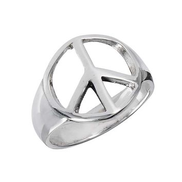 Bold Peace Sterling Silver  Ring
