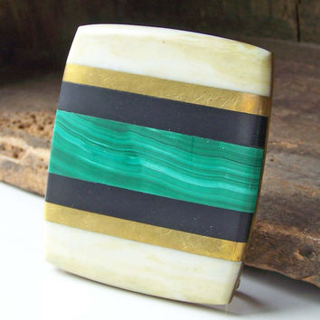 Etsy, Etsy Collectibles, Etsy Vintage, Vintage Brass, Mother of Pearl and Malachite Belt Buckle, Vintage Malachite