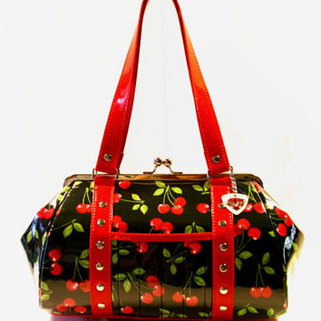 Cherry Handbag Vinyl Trim Kisslock Frame Rockabilly Bag Pin Up Purse - MADE TO ORDER