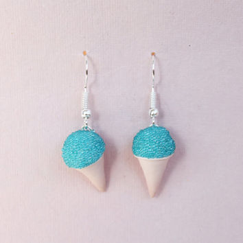 Food Jewelry, Snow Cone Earrings, Miniature Snow Cone Jewelry, Food Earrings, Silver Plated Earrings, Candy Sweets, Choose your own colour