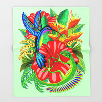 The Lizard, The Hummingbird and The Hibiscus Throw Blanket by BluedarkArt