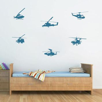 ik1797 Wall Decal Sticker military equipment army helicopters set bedroom