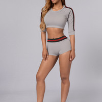 Short Sleeve Crop Top Spandex Top and Shorts