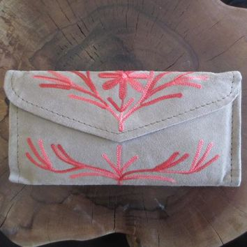 Women Envelope Leather Wallet HANDMADE Embroidered Purse With Card Holder