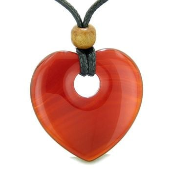 Amulet Large Lucky Heart Donut Shaped Charm Carnelian Gemstone Pendant Spiritual Powers Necklace