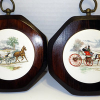 Horse and Carriage Ceramic Vintage Wall Decor On Wood