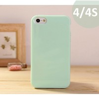 Anley® Candy Fusion Jelly Silicon Case Cover Slim Fit for Iphone 4 4G 4S Color MINT GREEN