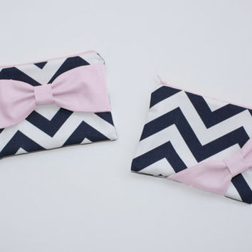 Cosmetic Case / Zipper Pouch - Navy and White Chevron with Light Pink Side or Center Bow