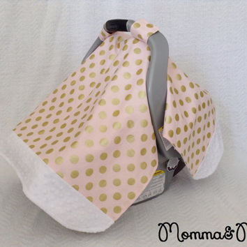 infant - baby - girl- Light Pink and Metallic Gold Polka Dot and White Minky Trimmed Carseat Cover -carseat canopy