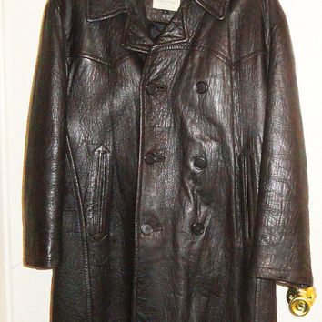 MICHAEL HOBAN Heavy Leather Coat LARGE Mens Double Breasted Pea Coat Insulated