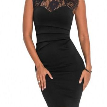 Sheer Lace Yoke Black Sleeveless Bodycon Dress