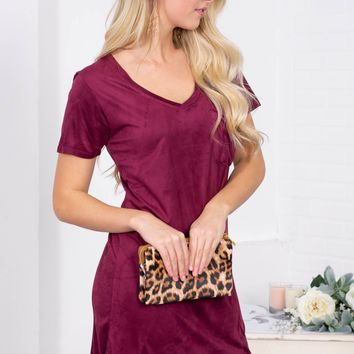 Suede Shift Pocket Dress | Wine Velvet