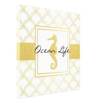 Art Deco Seahorse Faux Gold Nautical Modern Canvas Print