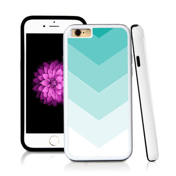 iPhone 6 case Ombre color white in Turquoise Texture with hard plastic & rubber protective cover