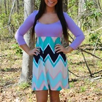 Counting Stars Chevron Dress - Lavender