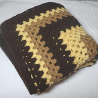 1970s Vintage Hand Crocheted Afghan in Single Granny Square Pattern, Brown, Tan, Yellow, 51 In. Square, Vintage Textiles, Car Blanket, Throw
