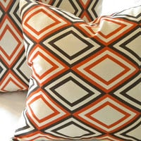 Retro Orange moden pillow cover 16 x 16 by MicaBlue on Etsy