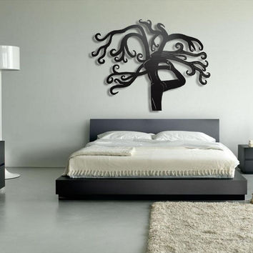 Tree Yoga Metal Wall Art - Large Metal Wall Decor