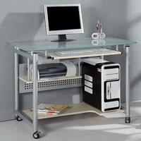 Walmart: Rolling Computer Desk, Glass and Silver-Colored Metal