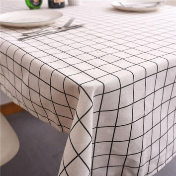 Rectangular Cotton Linen Print Tablecloth Europe Simple Plaid Table Cloth Dinning Tablecloths Table Cover Home Decor