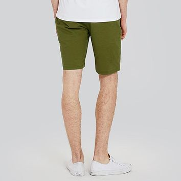 Men Shorts Casual Cotton Army Green Slim Fit Shorts