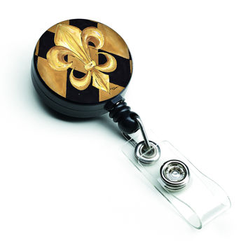 Black and Gold Fleur de lis New Orleans Retractable Badge Reel 8125BR
