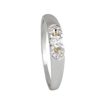 18k white gold women's diamond 0.34 ct/HSI wedding band Brilliant