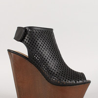 Bamboo Perforated Faux Wood Platform Wedge