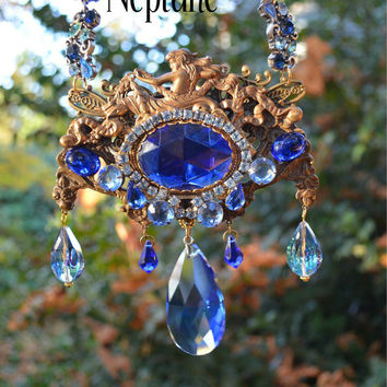 Neptune Statement Necklace, Vintage Cobalt Blue Rhinestones, Bronze Escutcheon, Chandelier Crystals.