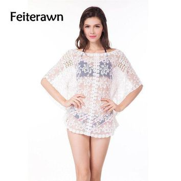 PEAPGC3 Feiterawn 2017 Women Summer Sexy Beach Cover Up White Batwing Sleeve See Through Loose Pullover Floral Bikini Cover Ups DY1167