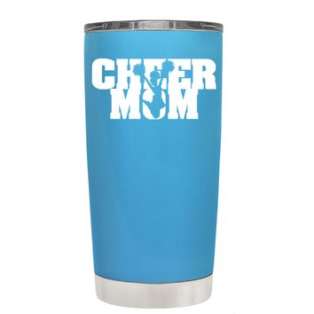Cheer Mom with Cheerleader Silhouette on Baby Blue 20 oz Tumbler Cup