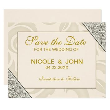Beige Lace Texture | Wedding Save the Date Card