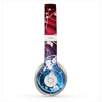 The Blue and Red Light Arrays with Glowing Vines Skin for the Beats by Dre Solo 2 Headphones