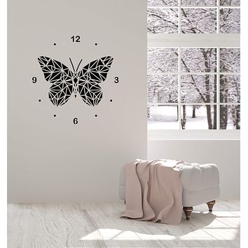 Vinyl Wall Decal Polygonal Butterfly Clock Home Room Interior Decor Stickers Mural (ig5805)